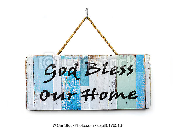 Well known Word god bless our home on wooden sign. VL97