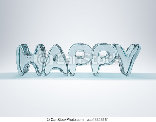 Word HAPPY made from ice letters  3D