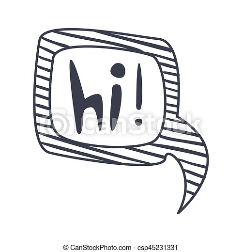 Word hi, hand drawn comic speech bubble template, isolated black and ...