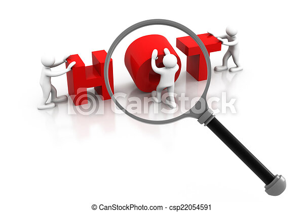 Word hot  under the magnifier - csp22054591