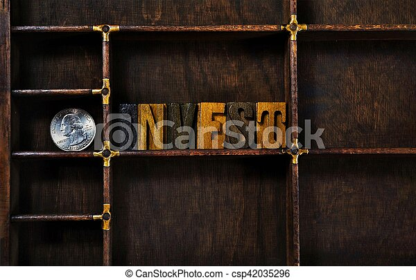 word invest in letterpress type - csp42035296