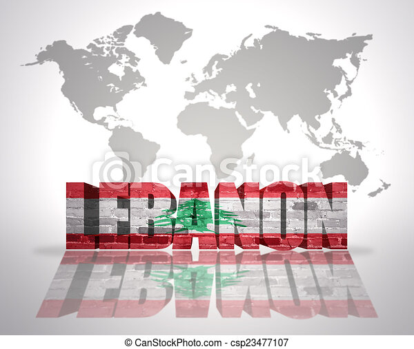 word lebanon on a world map background csp23477107