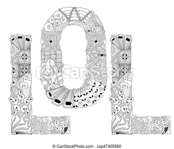 Word Lol For Coloring Vector Decorative Zentangle Object