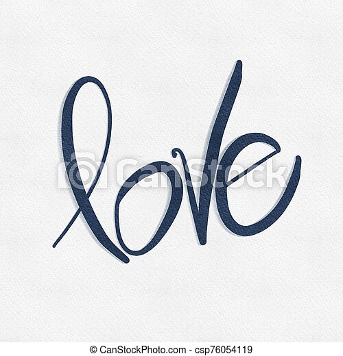 Word Love in Blue paint on White textured background - csp76054119