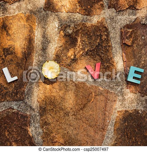 word love on the stone floor - csp25007497