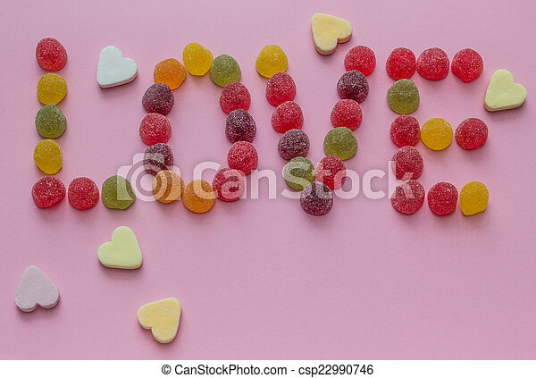 Word love spelled with candy - csp22990746