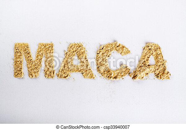 Word maca piled of maca root powder on white background. - csp33940007