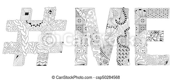 Word Me With Hashtag For Coloring Vector Decorative Zentangle Object