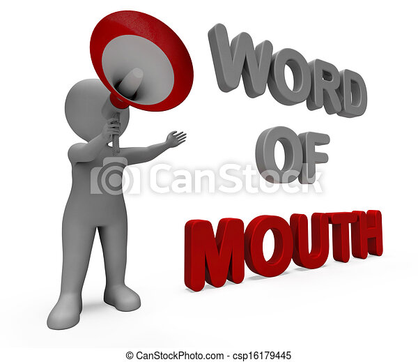 Word Of Mouth Character Showing Communication Networking Discussing Or Buzz - csp16179445