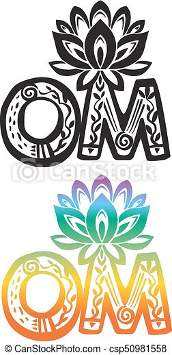 Word Om With Lotus Flower Silhouette Word Om With Vector Lotus
