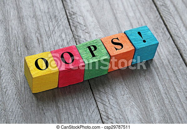 word oops on colorful wooden cubes - csp29787511