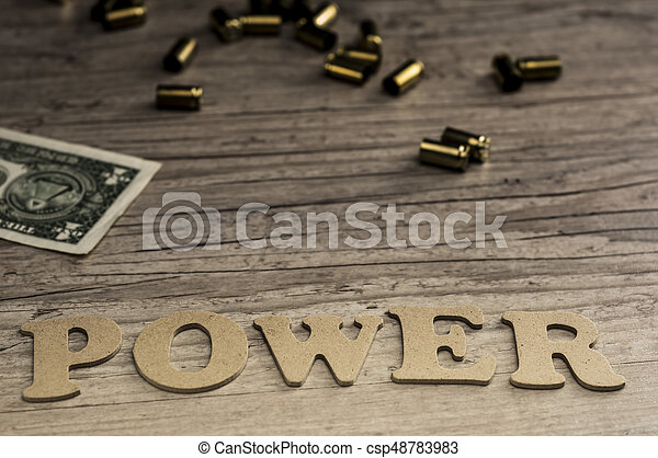 Word power concept with wooden letters - csp48783983