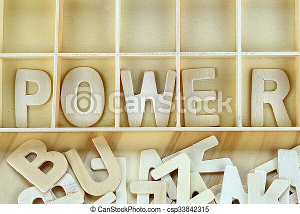 Word power made with wooden letters alphabet - csp33842315