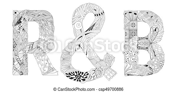 Word Rb For Coloring Vector Decorative Zentangle Object