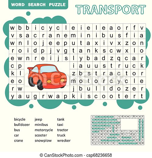 Word Search Puzzle For Children, Transport Theme, Fun Education Game For  Kids, Preschool Worksheet Activity, Vector CanStock