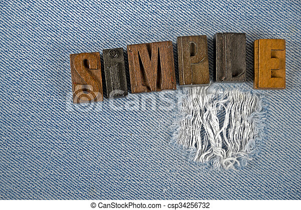 word simple in old letterpress type - csp34256732