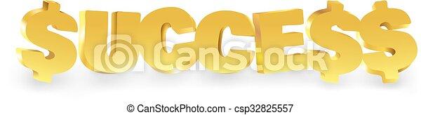 Word success made of gold. - csp32825557
