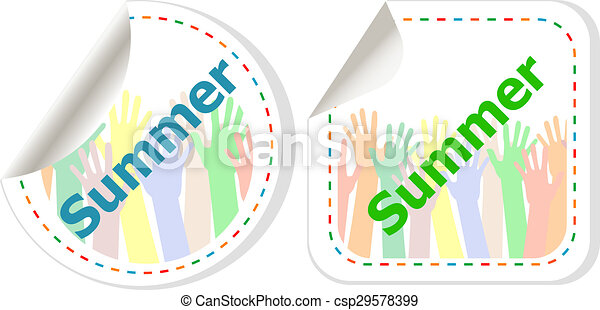 word summer web button isolated on white background, icon design - csp29578399