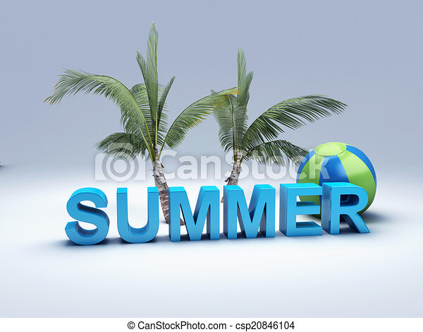 word summer with colourful letter 3D Illustration - csp20846104