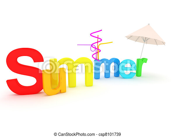 Word summer with colourful letters - csp8101739