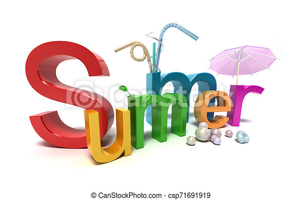 Word summer with colourful letters on white - csp71691919
