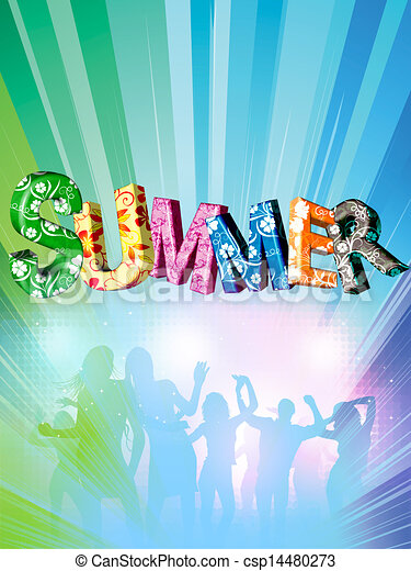 Word summer with colourful letters - csp14480273