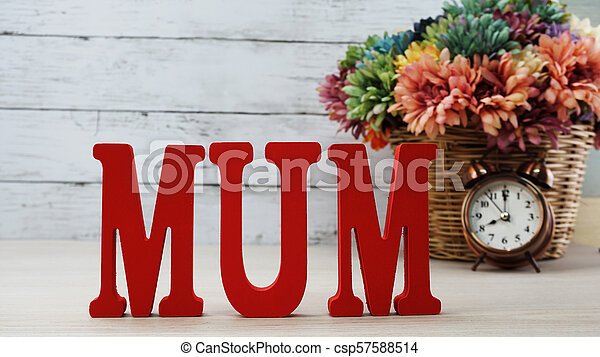 word text mom with space background mother's day concept - csp57588514