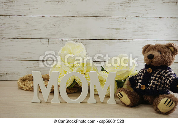 word text mom with space background mother's day concept - csp56681528
