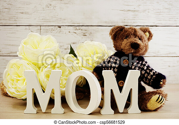 word text mom with space background mother's day concept - csp56681529
