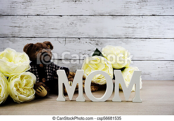 word text mom with space background mother's day concept - csp56681535