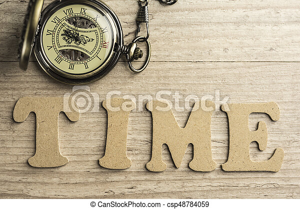 Word time concept with wooden letters - csp48784059