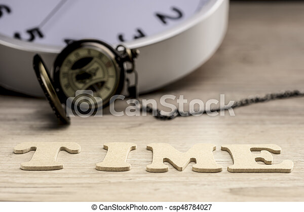 Word time concept with wooden letters - csp48784027
