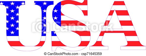 Word USA with american flag - csp71645359