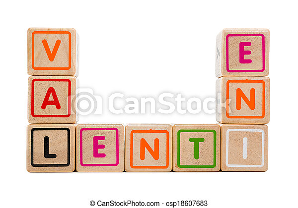 "Word ""Valentine"" with colorful wooden blocks on white background - csp18607683"