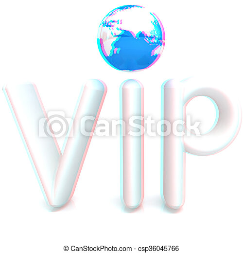Word VIP with 3D globe. Anaglyph. View with red/cyan glasses to see in 3D. 3D illustration - csp36045766
