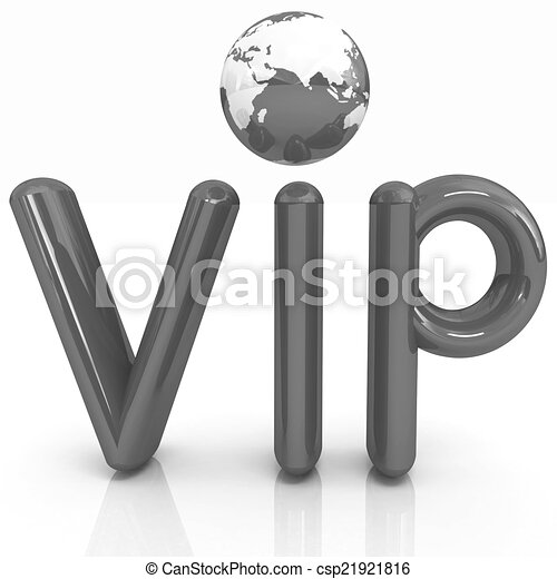 Word VIP with 3D globe - csp21921816