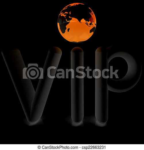 Word VIP with 3D globe - csp22663231