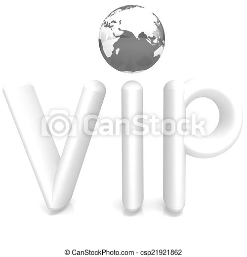 Word VIP with 3D globe - csp21921862