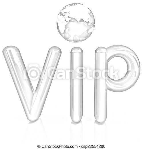 Word VIP with 3D globe - csp22554280
