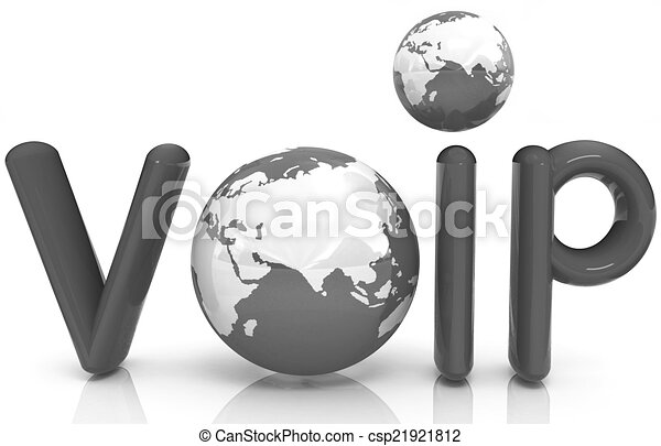 Word VoIP with 3D globe - csp21921812