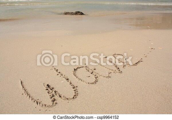 word wave on the beach