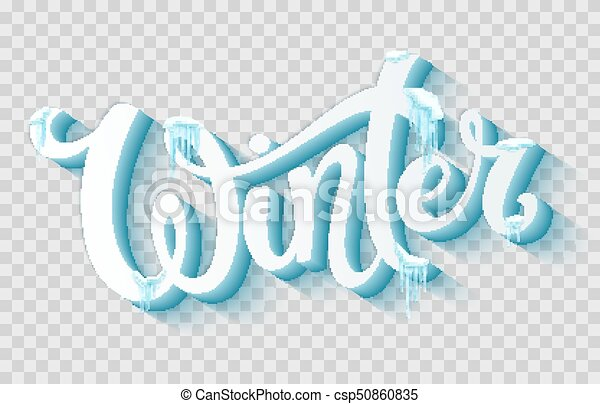 word winter with snow and icicles hand drawn lettering template