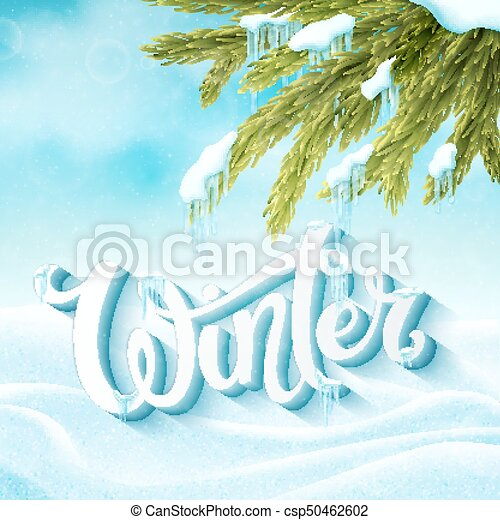 word winter with snow and icicles winter postcard invitation