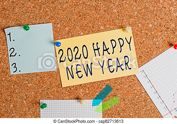 Word writing text 2020 Happy New Year. Business concept for celebration of the beginning of the calendar year 2020 Corkboard color size paper pin thumbtack tack sheet billboard notice board. - csp82713613