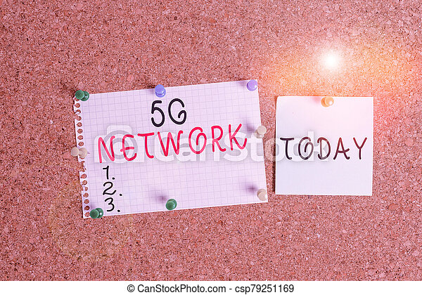 Word writing text 5G Network. Business concept for greatly increase the speed and responsiveness of wireless network Corkboard color size paper pin thumbtack tack sheet billboard notice board. - csp79251169