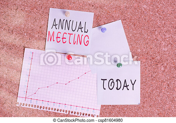 Word writing text Annual Meeting. Business concept for yearly meeting of the general membership of an organization Corkboard color size paper pin thumbtack tack sheet billboard notice board. - csp81604980