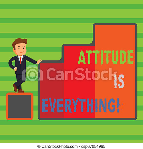 Word writing text Attitude Is Everything. Business concept for Personal Outlook Perspective Orientation Behavior. - csp67054965