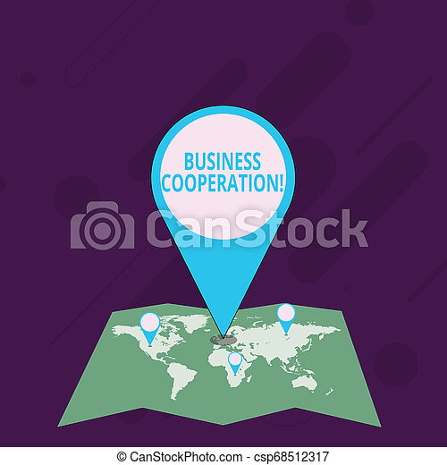 Word writing text Business Cooperation. Business concept for businesses to work together for mutual benefit Colorful Huge Location Marker Pin Pointing to an Area or GPS Address on Map. - csp68512317