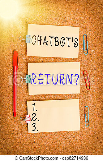 Word writing text Chatbot s is Return Question. Business concept for program that communicate use text interface and AI Vertical empty sticker reminder memo square billboard corkboard desk paper. - csp82714936