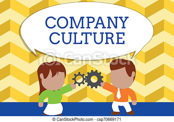 Word writing text Company Culture. Business concept for The environment and elements in which employees work Standing young couple sharing gear. Man tie woman skirt commerce relation. - csp70669171